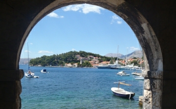 View of town of Croatian town of Cavtat close to Dubrovnik