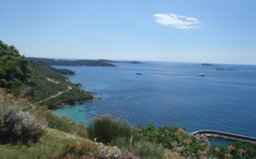 Panorama of Dubrovnik Area. view of sea and islands close to Cavtat from above Plat