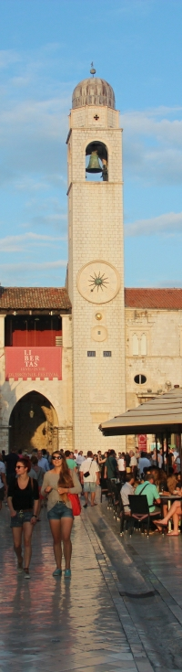 View of Stradun front of Bell tower in Dubrovnik Croatia