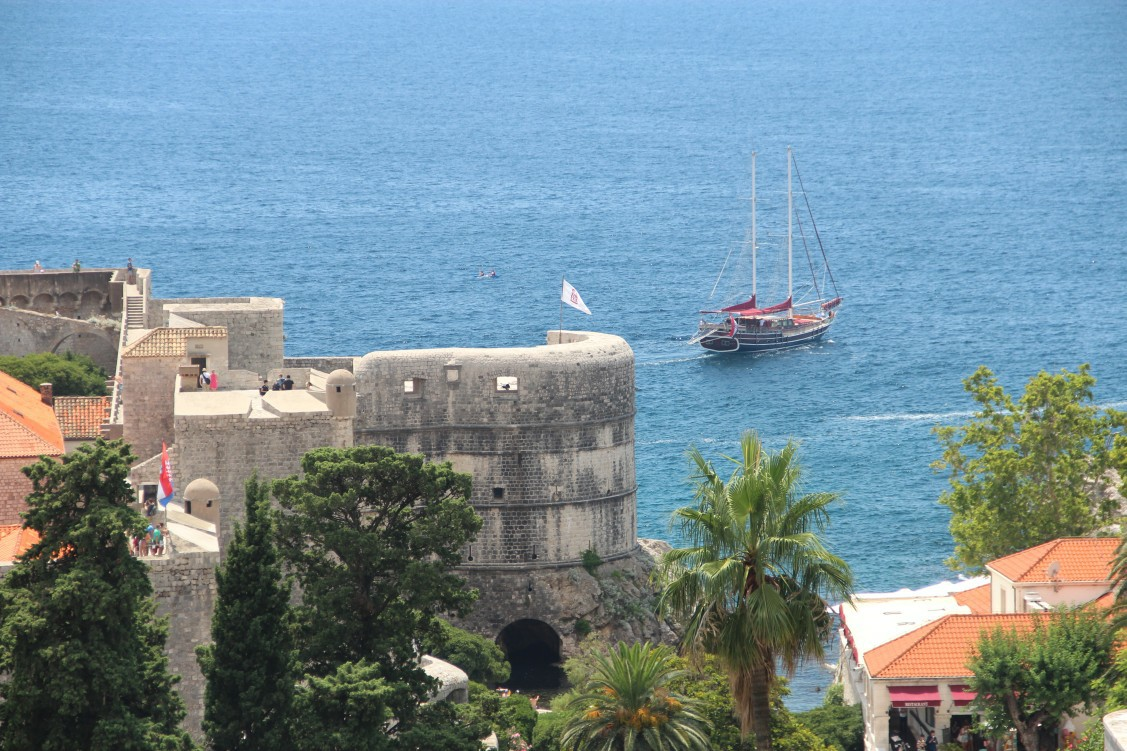 Close up panorama picture of one of Dubrovnik forts - Bokar Fortress