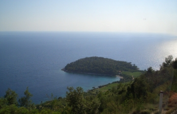 Panoramic view of an islet from the Croatian coastal road from Dubrovnik to Korcula
