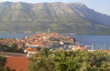 View on town of Korcula Croatia from the road above