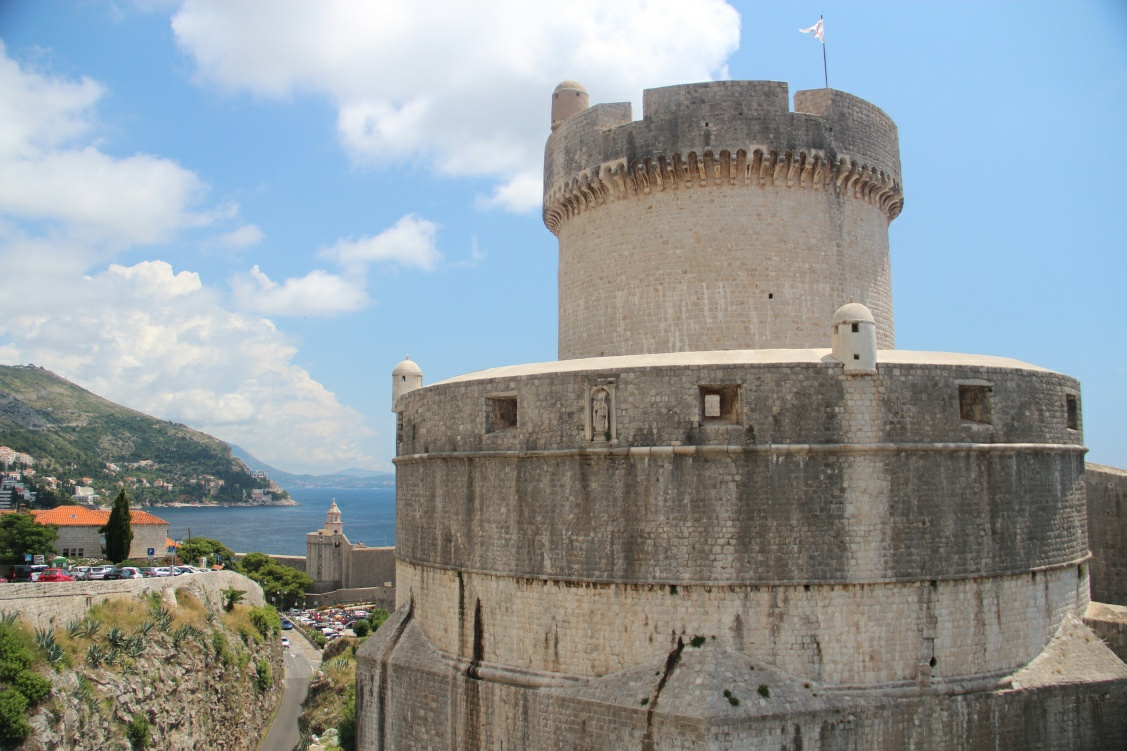 Minceta fort is seen in close up standing high over Dubrovnik red roof tops