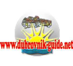 Dubrovnik Guide logo features the sun, the sea, and Dubrovnik engraved in a glowing pearl